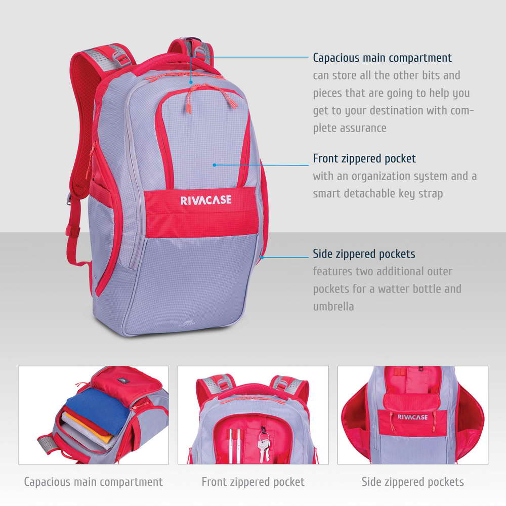 5265 grey/red 30L Laptop backpack 17.3