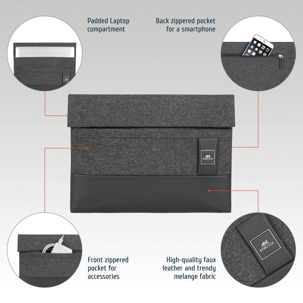 8803 black mélange MacBook Pro and Ultrabook sleeve 13.3