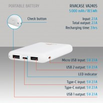 VA2405 (5000mAh) white, portable rechargeable battery