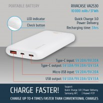 VA2530 (10000mAh) QC/PD portable rechargeable battery