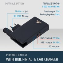 VA4749 EN portable rechargeable battery with built-in wall and car chargers